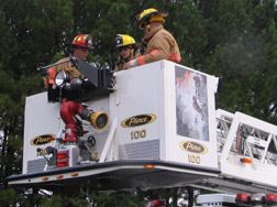 Fire Department Volunteers in Lift