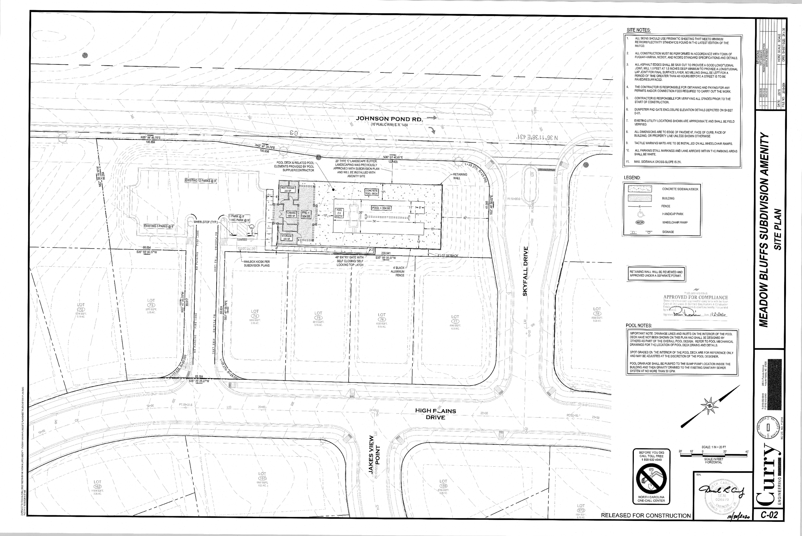Meadow Bluffs Amenity Center Site Plan