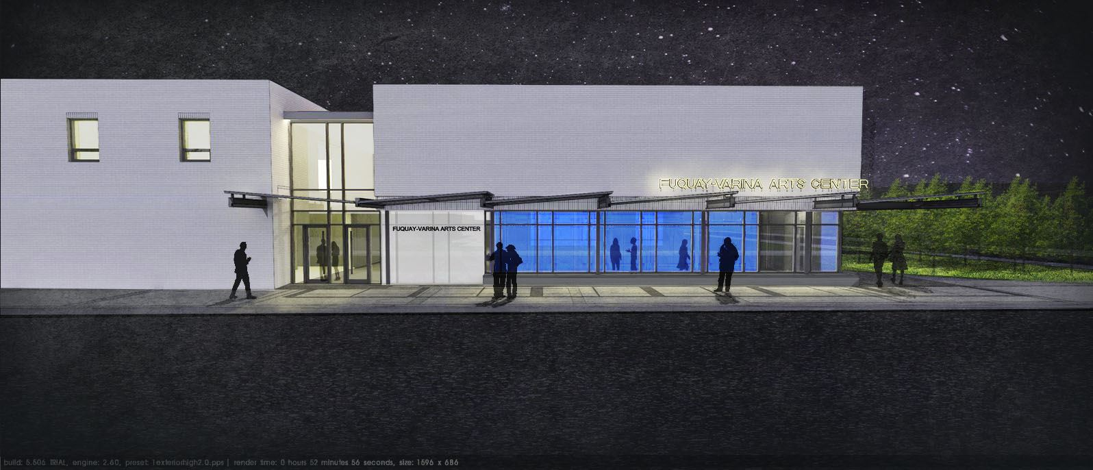 FVArtsCenter design of theater at night.